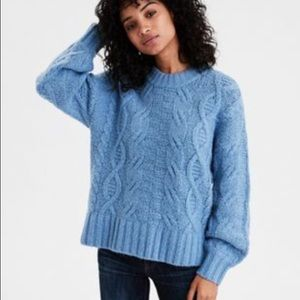 American Eagle Chunky Cable Knit Pullover In Blue